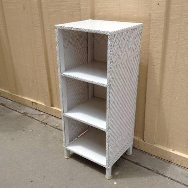 Small White Wicker Shelf Loveseat Vintage Furniture San Diego Los Angeles