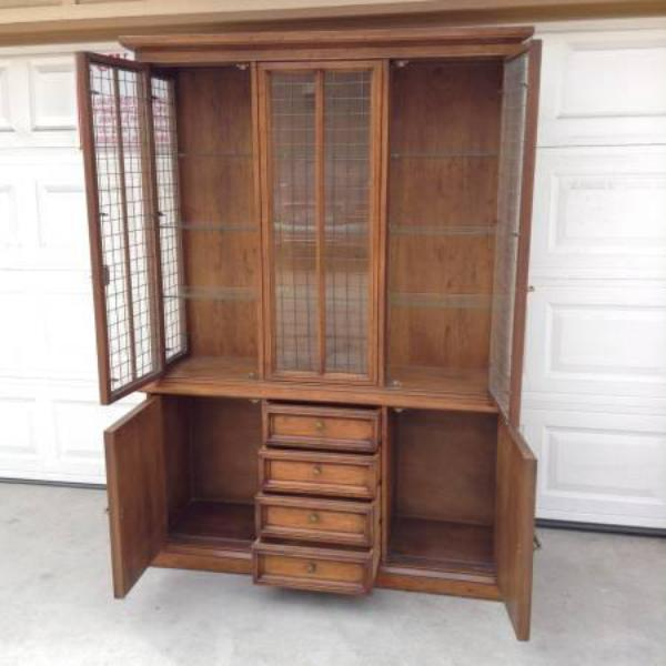 Solid Wood China Cabinet By Quot Drexel Quot Loveseat Vintage