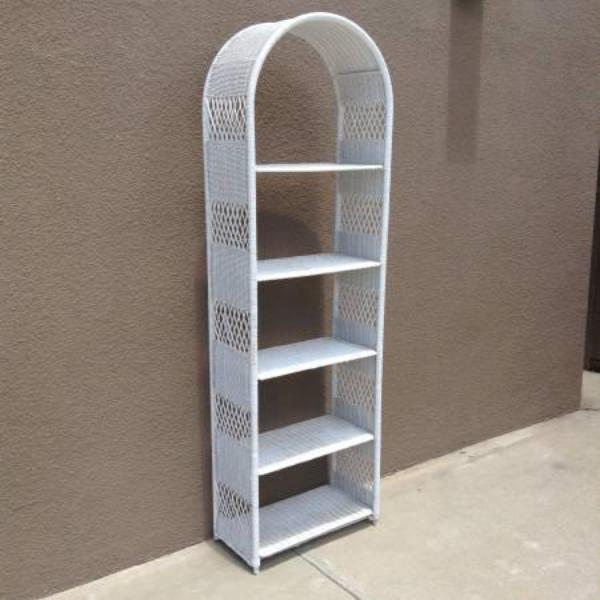 Tall White Wicker Bookshelf Loveseat Vintage Furniture
