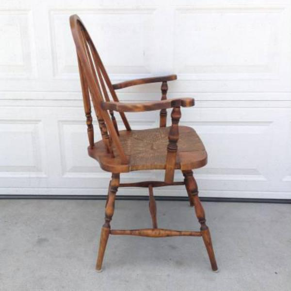 Solid Wood Vintage Windsor Armchair W Rattan Seat