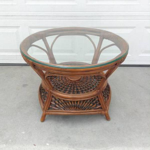 Tropical Round Pier 1 Coffee Table W Glass Top Loveseat Vintage Furniture San Diego