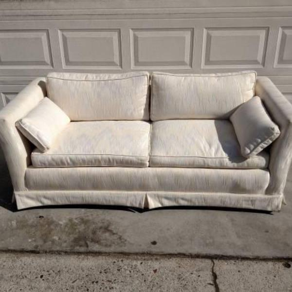 White Upholstered Loveseat Couch