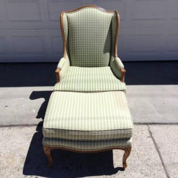 Green Amp White Plaid Wingback Chair W Ottoman Loveseat Vintage Furniture San Diego