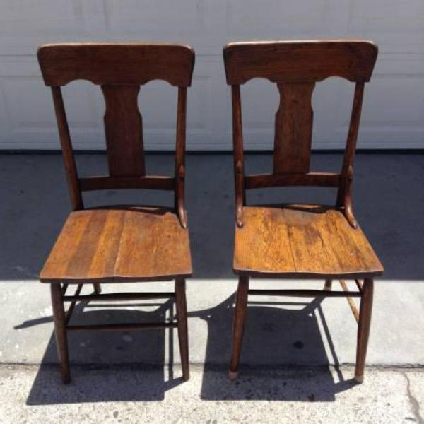 Pair Of Rustic Solid Wood Vintage Dining Chairs Loveseat