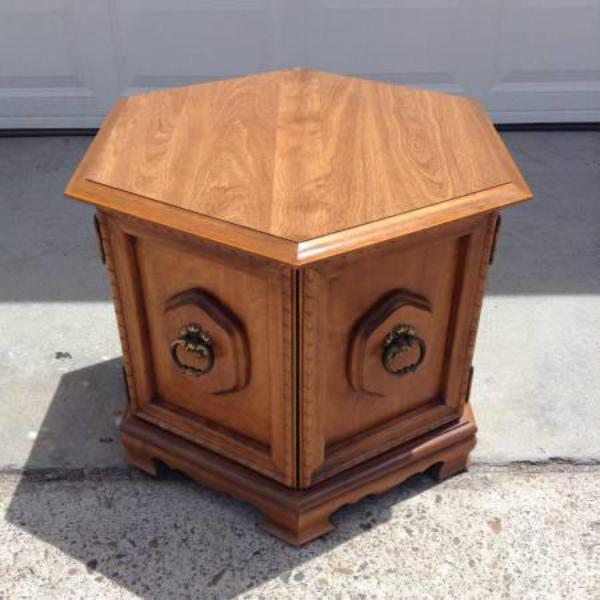 Solid Wood Vintage Hexagon End Table W Cabinet Loveseat