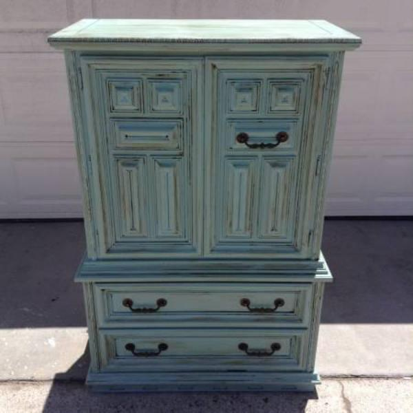 Shabby Chic Solid Wood Provence Armoire Loveseat Vintage Furniture San Diego