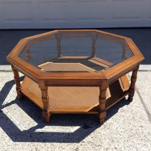 Solid Wood Vintage Octagon Coffee Table W/ Shelf | Loveseat Vintage  Furniture San Diego
